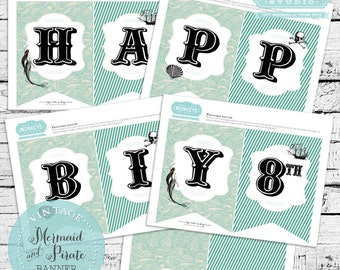 Vintage Mermaid and Pirate Birthday Party Banner