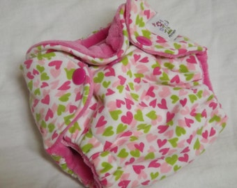 Newborn Fitted Cloth Diaper Pastel Hearts
