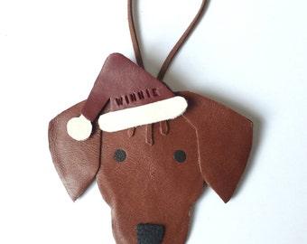 Rhodesian Ridgeback Christmas Ornament Personalised Leather Rhodesian Ridgeback Gifts