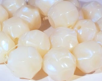 Vintage West German Lucite Opalescent Nugget Focal Beads