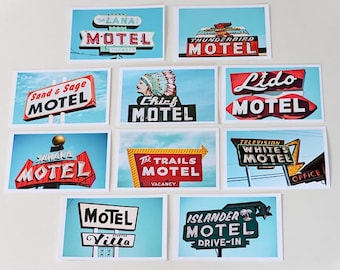 Postcard Set, Art Postcards, Photo Postcards, Vintage Motels, Color Photography, Guest Room Art, Wall Art, Motel Neon Sign, Affordable Art