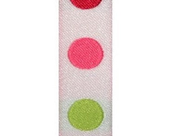White with Pink and Green Dot Jacquard (04-###-PD-050)