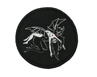 In Devils Arms Patch / Girl and Demon / Satan Take Me To Hell / Dark Romance Occult Goth Punk Witch Art / Sew On Embroidered Patch