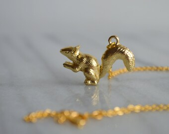 Gold Squirrel Necklace, Woodland, Forest Animals, Womens Jewelry, Gift for her, by ktnunna
