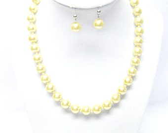 10mm Yellow Glass Pearl Choker Necklace & Earrings Set