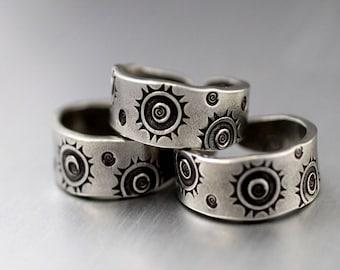 Spiral Sun Ring, Adjustable Ring, Pewter Ring, Sunburst Ring, Spiral Ring, Whimsy Ring, Pewter Stack Ring, Tapered Band Ring