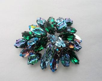 Signed Regency Blue Green Aurora Borealis Molded Glass Rhinestones Brooch