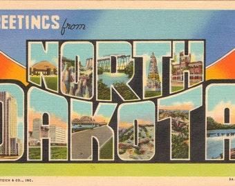 Linen Postcard, Greetings from North Dakota, University, Capitol, Fargo, Bad Lands, Large Letter