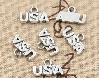 12 USA Charms Antique Silver Tone Untied States Of America Charm Bracelet Bangle Bracelet Pendants #51