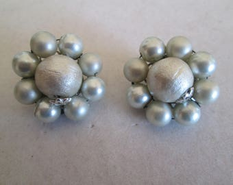 Pale blue beaded cluster button clip on earrings vintage 1950's