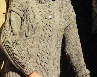 Ladies Cable Sweater, Knitting Pattern. PDF Instant Download.