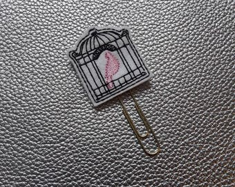 Beautiful Bird Cage Planner Bookmark. Planner Feltie Clip.  Paperclip.  Felt Clip. Planner Gifts.  Stationery.  UK SELLER!