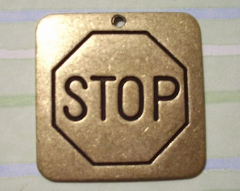 Oxidized Brass Stop Sign Pendant
