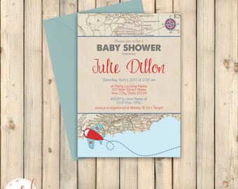 Books for baby printable insert vintage travel theme baby vintage travel theme baby shower invitation destination let adventure begin couples sprinkle airplane printed invitation or digital filmwisefo