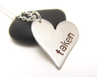 Taken sterling silver heart pendant - made to order