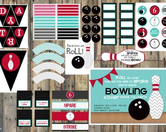 Large - Bowling Party Printable Package - Classic Colors - Boy
