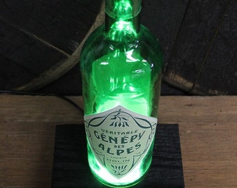Genepy Des Alpes Wine Bottle LED Light / Reclaimed Wood Base & LED Desk Lamp / Handmade Tabletop Lamp / Upcycled Liquor Bottle Lighting