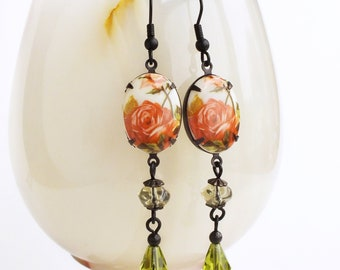 Rose Cameo Earrings Vintage Floral Earrings Coral Olive Green Victorian Rose Jewelry Spring Earrings