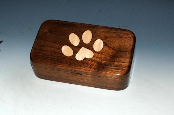 Wood Treasure Box-Dog Paw Print-Walnut and Curly Maple - Dog Paw Box, Dog Print Heart Box-Wood Box-Wooden Box, Pet Box, Handmade Box-Paw Box