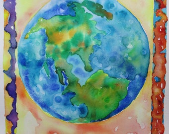 Original earth watercolor painting