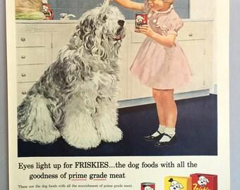 1958 Carnation Friskies Dog Food Print Ad - Little Girl with Sheep Dog Illustration