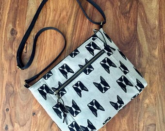 Traverse Crossbody Bag - Gray Boston Terrier - Made To Order