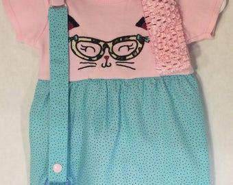 0-3M Cat's Meow Onesie Dress Set
