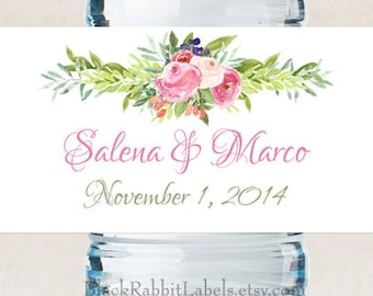 "Personalized Water Bottle Labels - Pink Watercolor Flowers - Wedding Favors 2""x8.5"" self-stick labels - Bottled Water Labels"