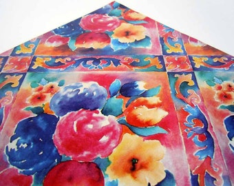 Vintage 1980s Any Occasion All Occasion Wrapping Paper Colorful Floral Gift Wrap