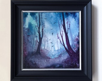 Studio Sale - Night In The Forest - Framed Original Ethereal Enchanted Forest Woodland Scene - ORIGINAL Painting