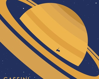 Cassini Grand Finale Patch vinyl sticker, reimagined space mission patch