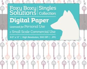 Instant Download Gray & Pink Vintage Skeleton Key Digital Paper for Scrapbooking - Digital Download Supply - Printables - Scrapbook Paper