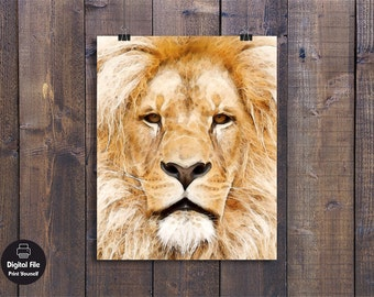 Lion Watercolor Painting, Printable Wall Art, Animals Print Decoration, African Wildlife, Nursery Wall Decor, Male Lion Face Art Poster