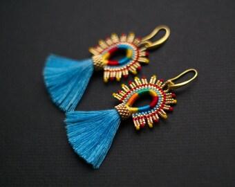 Carribean Blue Tassel Earrings, Mexicana Style Tassel Earrings, Ethnic Earrings, Blue Earrings, Blue Brazilian Earrings - MADE TO ORDER