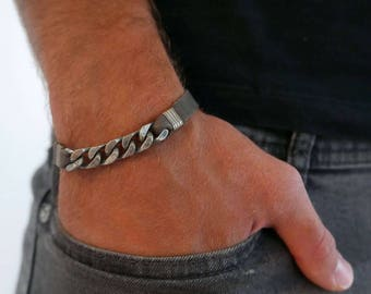 Men's Bracelet - Men's Silver Bracelet - Men's Leather Bracelet - Men's Chain Bracelet - Men's Cuff Bracelet - Men's Jewelry - Men's Gift