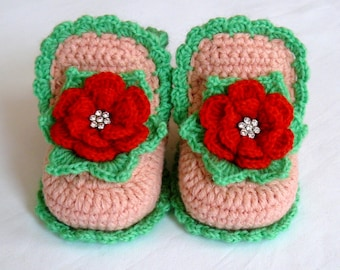 Crochet baby booties girls Newborn girl shoes Baby shoes Flower shoes peachy color Girl Photo Prop  Baby slippers Gift for New Mom