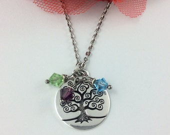 Family Tree Of Life Necklace, Birthstone Necklace, Personalised Gift For Mum, Gift for Grandma, Birthstone Pendant, Mothers Day Gift
