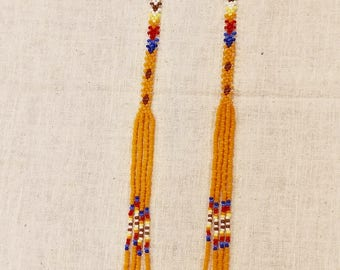 Handcrafted Native American inspired earrings, beaded pow wow earrings, turquoise, blue, white, maroon, red, orange, yellow, green