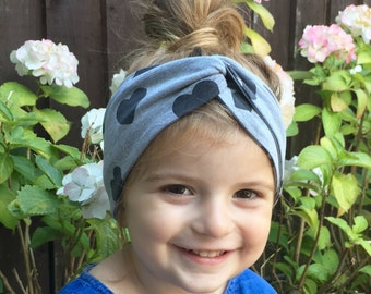 Grey heart print jersey head wrap / baby headband / turban / toddler head wrap / toddler headband / turban headband/ hipster baby