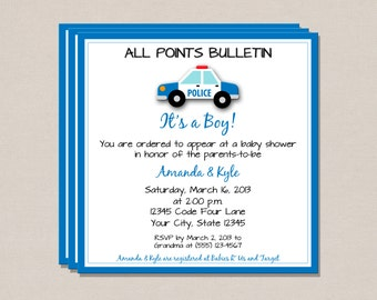 Police Baby Shower Invitation - It's a Boy Baby Shower Invitation - Baby Shower Invitation - Printable Baby Shower Invitation
