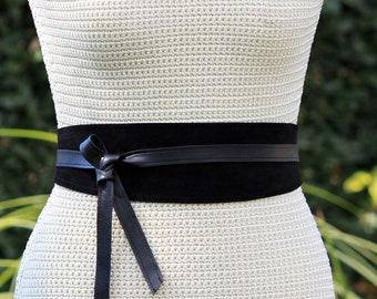 REVERSIBLE Genuine Leather • Suede and lambskin black wrap belt • bespoke • XS S M L XL • petite + plus size • Obi belt