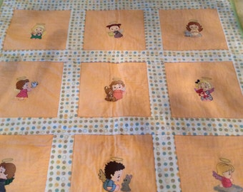 Machine Embroidered Angel  Quilt Ready to Ship