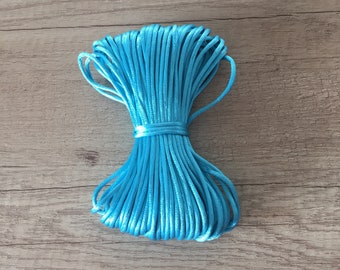 1 meter of thread/cord 2mm - TURQUOISE satin rat tail