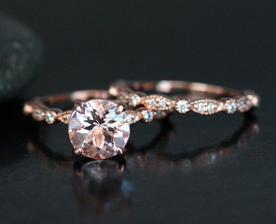 Morganite Wedding Ring Set in 14k Rose Gold with Morganite