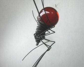 Blood Red Sun Catcher Window Spider Hanging Art  Made to Order