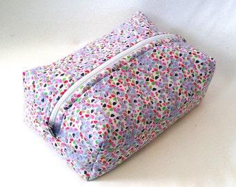 Makeup Bag, Cosmetic Bag, Boxy Bag, Zipper Pouch, Toiletry Bag, Purple, Pink, Green, Gold, White, Travel Bag, Purse Organizer