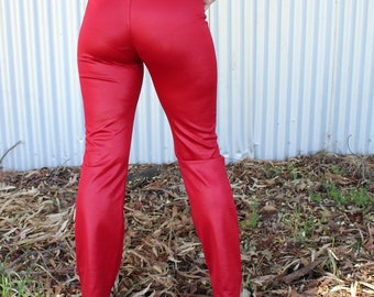 Red Pleather Flared Pants