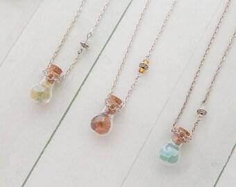 SEA OF WONDERS pendant, sea glass bottle necklace, potion bottle necklace, magic wish necklace, sea glass, sea tresures, boho style
