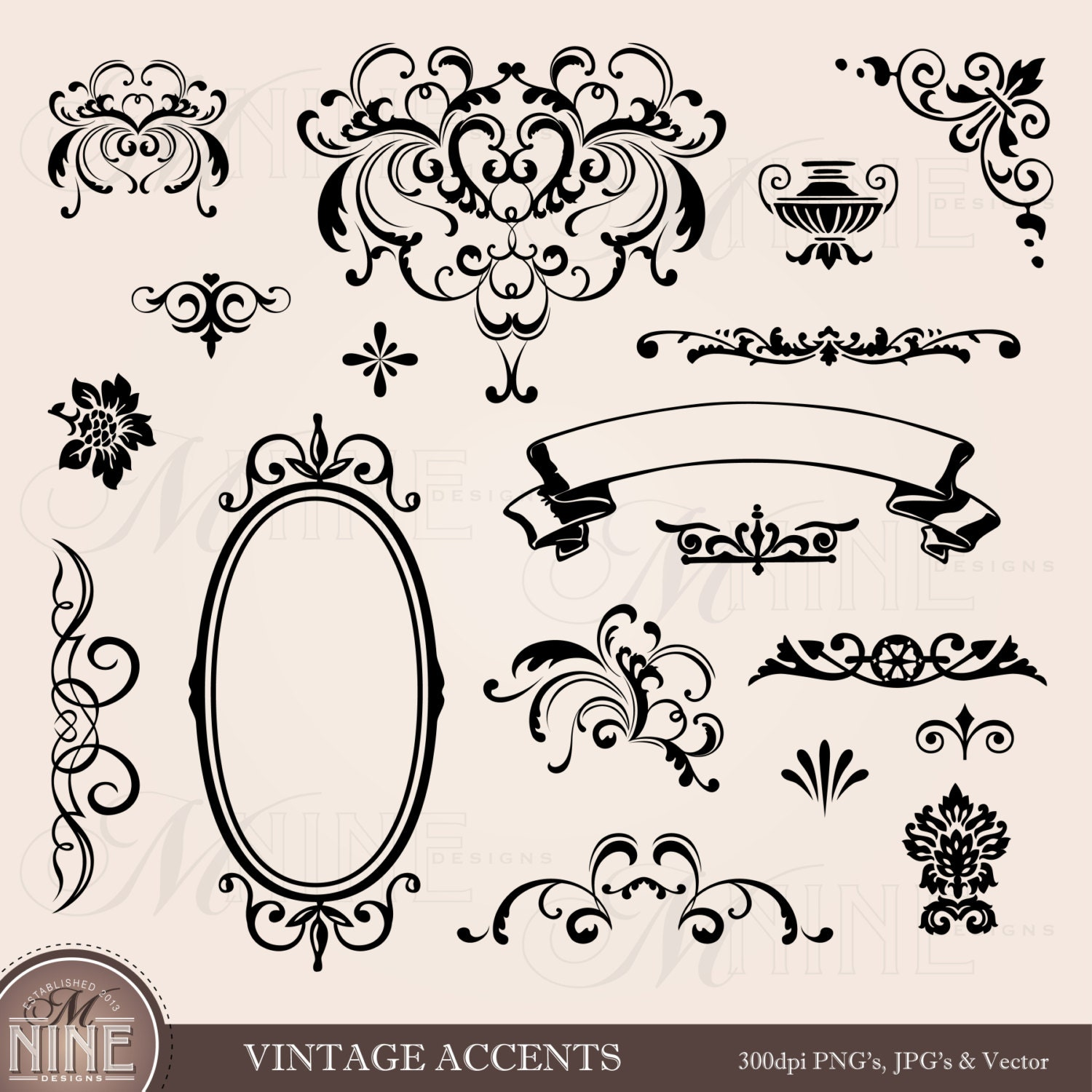VINTAGE ACCENTS Clip Art: Accent Clipart Design Elements