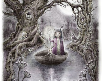 On Reflection - whimsical forest nymph with druid tree, tree of life, stag skull, animals of the forest
